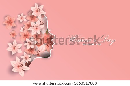 Happy Women Day holiday illustration. Paper cut girl head silhouette cutout with hand drawn spring and flower doodles. Horizontal format design ideal for web banner or greeting card. EPS10 vector.