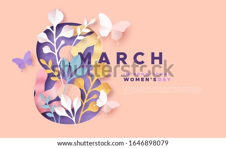 Happy Women Day 8th march holiday greeting card. 3D papercut female symbol with beautiful spring decoration and butterfly. Cute paper craft design for international women's event.