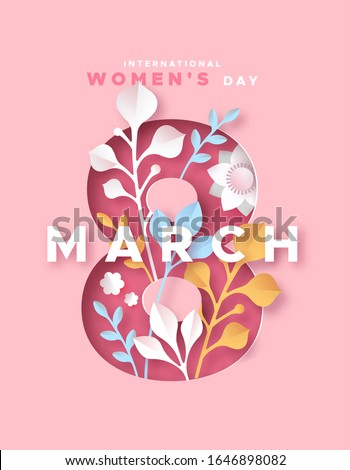 Happy Women Day 8th march holiday greeting card. 3D papercut female symbol with beautiful spring decoration and flowers. Cute paper craft design for international women's event.