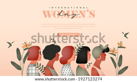 Happy Women Day web template illustration. Diverse young woman group together with tropical flower plant leaf and copy space. Modern minimalist style design for march 8 international women's event.