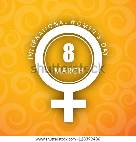 Happy Women's Day background with feminine symbol and text 8th March.