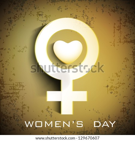 Happy Women's Day background with feminine symbol on brown background.