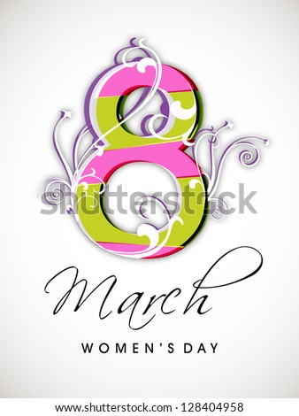 Happy Women's Day background with text 8th March.