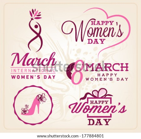 happy women's day badges and