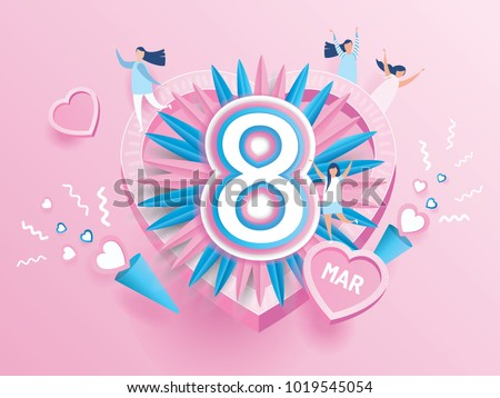Happy women's day celebration calendar concept. design for International Women's Day 8 March holiday. and young joyful women on pink background. Vector illustration.paper art style.