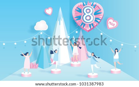 Happy women's day celebration calendar concept. design for International Women's Day 8 March holiday. and lovely joyful women on blue background. with pink heart. Vector illustration.paper art style.