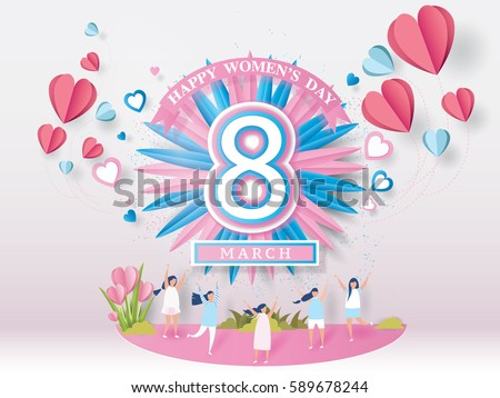 Happy women's day celebration card Concept. design for International Women's Day - 8 March holiday. and young woman joyful on abstract pink background. Vector illustration.paper craft style.