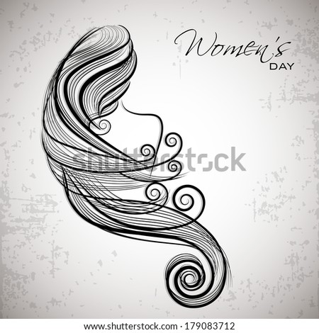 Happy Women's Day celebrations concept with illustration of a beautiful long hairs girl on grey background