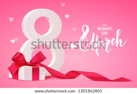 Happy Women's Day design template. 8 march pink background with gift box and blur hearts. Vector illustration. Eps 10