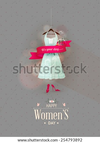 Happy Women's Day design with pink ribbon