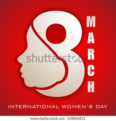 Happy Women's Day greeting card or background with illustration of lady face and text 8 March on red background. - stock vector