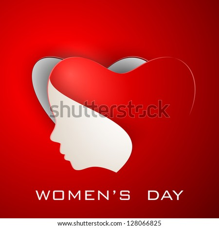 Happy Women's Day greeting card or background with illustration of lady face on red background. - stock vector