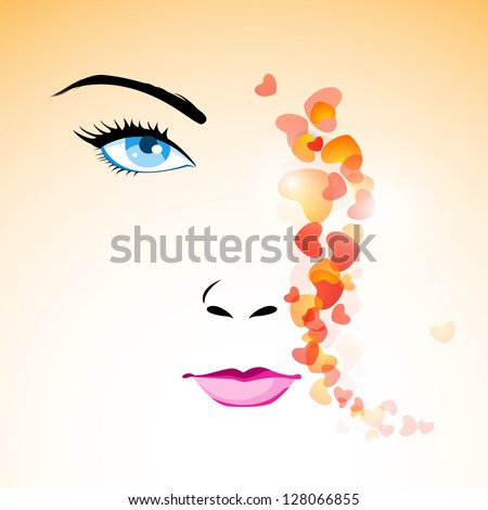 Happy Women's Day greeting card or background with portrait of a beautiful women. - stock vector