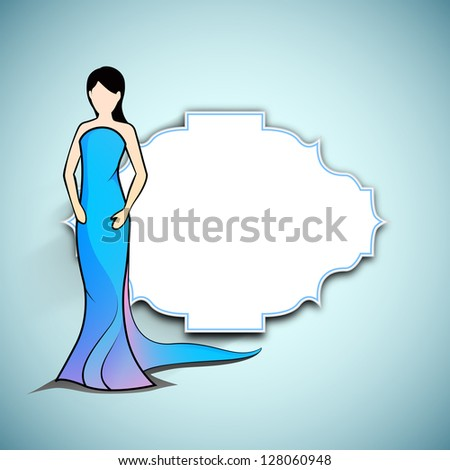 Happy Women's Day greeting card or background with sketch of a lady and blank space your message on blue background.
