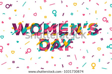 Happy Women's day greeting card with typography design and abstract paper cut shapes on white background. Vector illustration. Colorful 3D carving art.