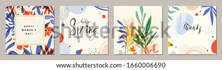 Happy Women's Day. Hello Spring. Trendy abstract square art templates. Suitable for social media posts, mobile apps, banners design and web/internet ads. Vector fashion backgrounds.