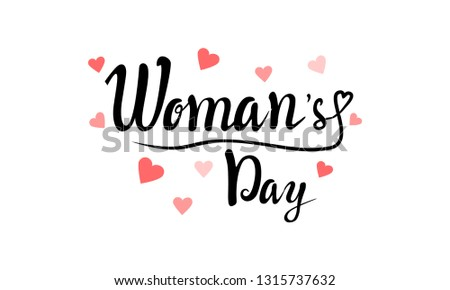 Happy Women's Day lettering typography poster with heart. International woman`s day invitation design  #1315737632