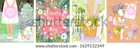 Happy Women's Day March 8! Cute spring vector illustration of a woman with a hat and a basket of flowers on nature on a picnic. Drawing for card, background and poster.
