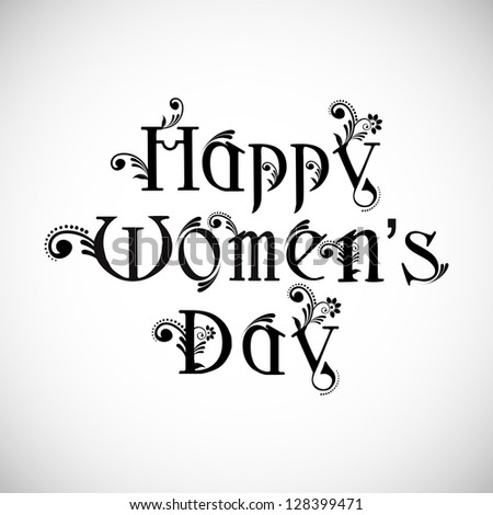 Happy Women's Day text on grey background.