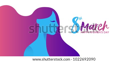 Happy Women's Day 8th March illustration, beautiful long hair girl with celebration text typography quote. Horizontal card format for web banner or header. EPS10 vector.