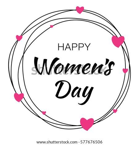 happy womens day hand drawn