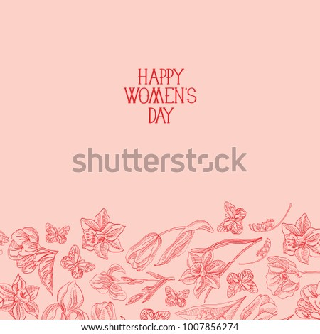 Happy womens day postcard with many flowers to the right of red text happy womens day postcard with many flowers to the right of red text with greetings the m4hsunfo