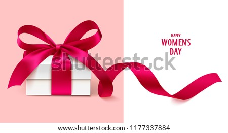Happy Womens day template design. Vector illustration. Decorative white gift box with red bow and long ribbon
