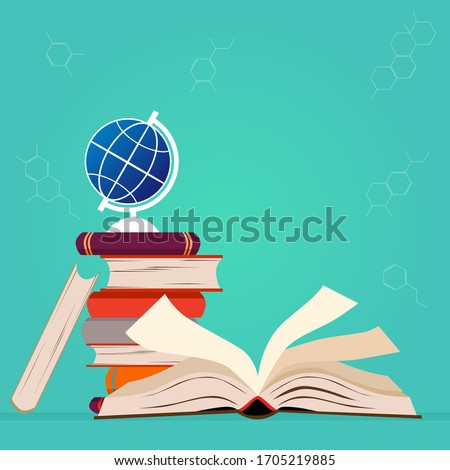 Happy World book day concept. book research biology science and dna on green background. Education learning concept with opening book on green background.