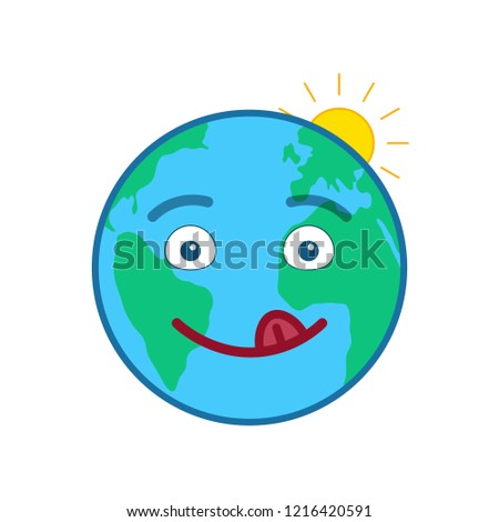 Happy world globe isolated emoticon. Joyful blue planet emoji. Social communication and weather widget. Cute face showing facial emotion. Funny earth with sun icon. Weather forecast vector element