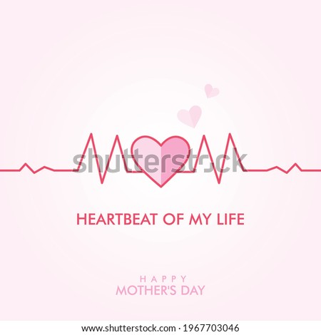 Happy world Mother's day greeting card. Heartbeat with pink hearts text Mom. Symbols of love on light pink background. Mom Heartbeat of my life. Love flies in the sky.