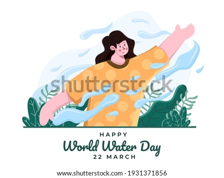 Happy world water day at March 22 illustration. International water day celebration. Save earth, save water. People control water using force concept. Suitable for banner, poster, postcard, flyer.