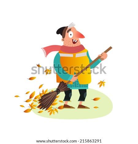 happy yardman sweeping autumn