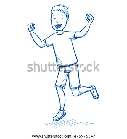 Happy young boy dancing and jumping with joy. Hand drawn cartoon doodle vector illustration. Сток-фото ©