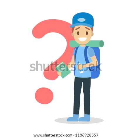 Happy young boy standing at the question mark with travel backpack and water. Tourist with bag on journey. Isolated flat vector illustration #1186928557