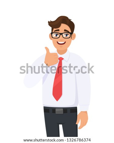Happy young business man showing/gesturing thumbs up sign, dressed in formal wear and red colour tie. Human emotions, facial expressions feeling concept illustration in vector cartoon style.