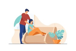 Happy young couple at home. Cheerful guy massaging shoulders of his girlfriend flat vector illustration. Relationship, comfort, relaxing concept for banner, website design or landing web page