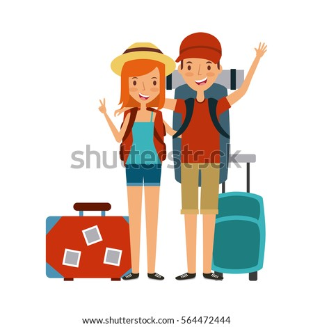 happy young couple cartoon icon over white background. trip and vacations concept. colorful design. vector illustration