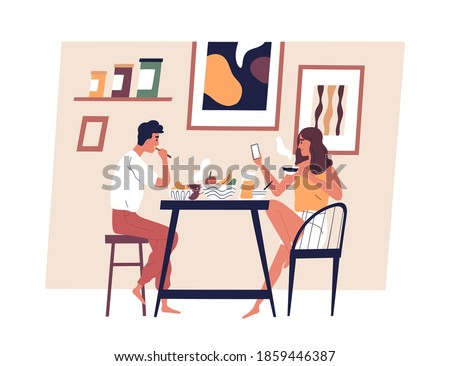Happy young couple eating meal together in Scandinavian interior. Man and woman taking lunch at dining table. People enjoying breakfast at home. Everyday routine. Flat vector illustration