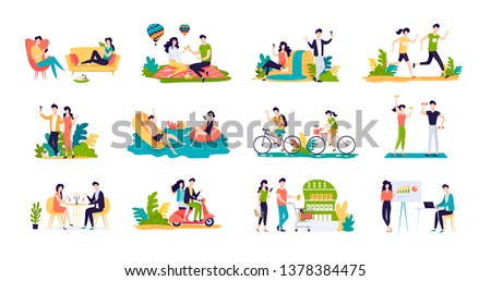 Happy young couple have funny romantic summer vacation time vector flat illustration