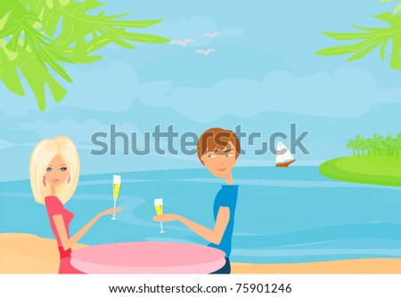 Happy young couple on a tropical beach
