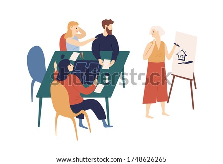 Happy young friends playing crocodile game at home vector flat illustration. Funny woman drawing picture on board, people trying guess image isolated on white. Smiling person spending time together