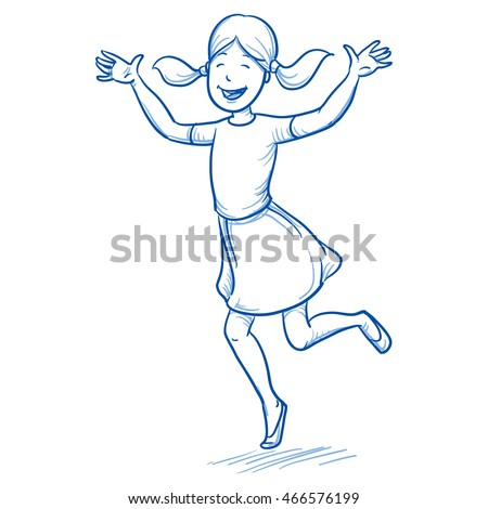 Happy young girl dancing and jumping with joy.. Hand drawn cartoon doodle vector illustration. Сток-фото ©