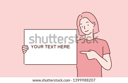 Happy young girl holding/showing/displaying white blank board/banner/poster.Hand drawn style vector design illustrations.
