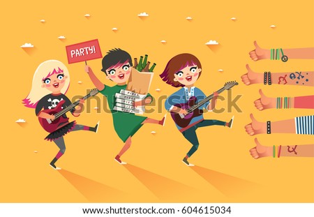 happy young girls with guitar