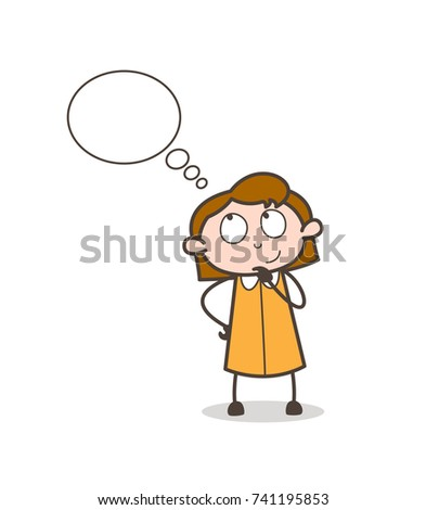 Happy Young Lady Thinking Face with Thought Bubble Vector