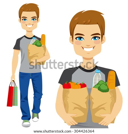 happy young man carrying