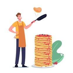 Happy Young Man in Apron Frying Pancakes on Pan with Stack of Baked Ones for Breakfast. Male Character Morning Routine, Cooking Meal for Family, Domestic Culinary, Bakery. Cartoon Vector Illustration
