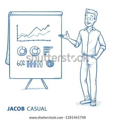 Happy young man in casual clothes holding hand as if explaining or presenting something (e.g business report or product). Hand drawn blue line art cartoon vector illustration.