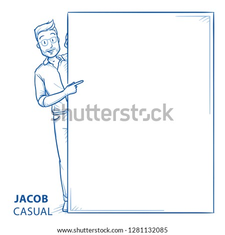 Happy young man in casual clothes peering behind a wall pointing to it Mock up for advert, offer, invitation. Hand drawn blue line art cartoon vector illustration.