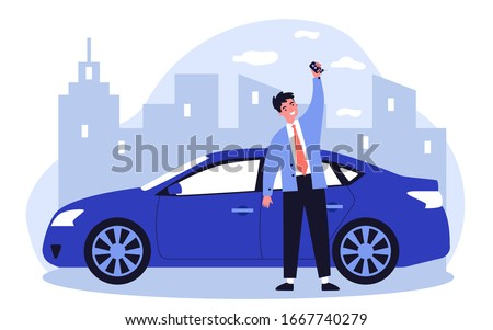 Happy young man leasing car flat vector illustration. Driver holding in hand keys to his new vehicle. Dealer making presentation for modern auto. Transport and lease concept